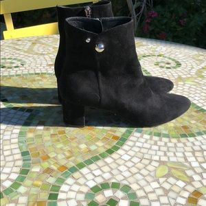 Christian Dior black suede zip ankle boot